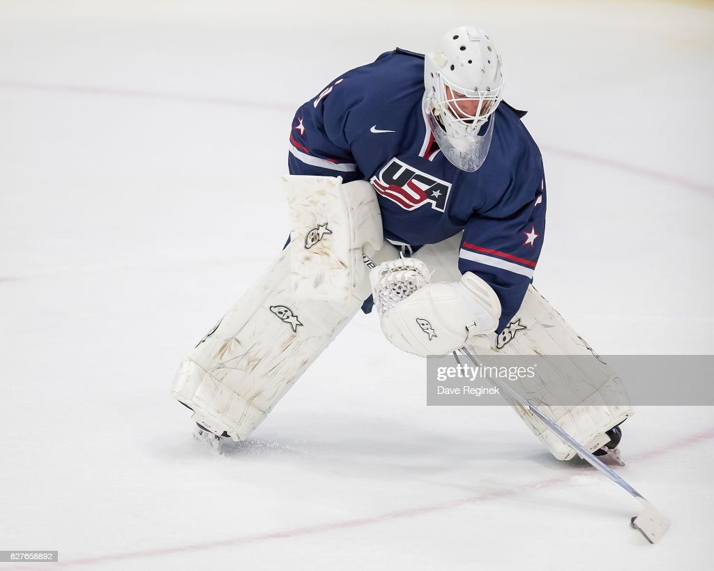 Dylan St. Cyr #30 of the USA controls the puck against Sweden during a World Jr. Summer Showcase game at USA Hockey Arena on August 2, 2017 in Plymouth, Michigan. The USA defeated Sweden 3-2. (Photo by Dave Reginek/Getty Images) Dylan St. Cyr