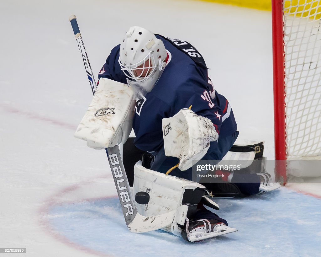 Dylan St. Cyr #30 of the USA makes a pad save against Sweden during a World Jr. Summer Showcase game at USA Hockey Arena on August 2, 2017 in Plymouth, Michigan. The USA defeated Sweden 3-2. (Photo by Dave Reginek/Getty Images) Dylan St. Cyr
