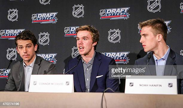 TORONTO ON APRIL 18 Dylan Strome Connor McDavid Noah Hanifin reacts to the draft lottery attend the NHL Draft Lottery media availability at the...