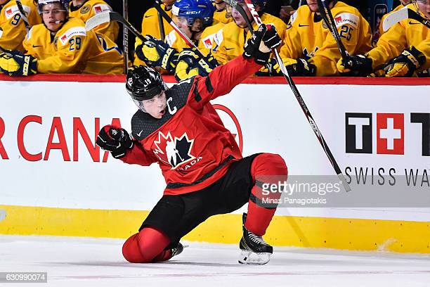 Dylan Strome of Team Canada celebrates his third period goal during the 2017 IIHF World Junior Championship semifinal game against Team Sweden at the...