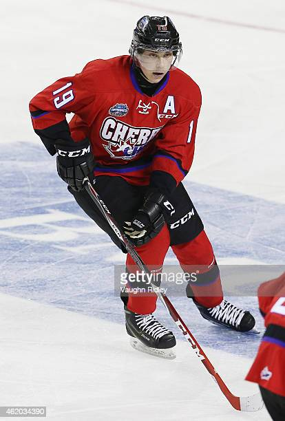 Dylan Strome of Team Cherry skates during the 2015 BMO CHL/NHL Top Prospects Game against Team Orr at the Meridian Centre on January 22 2015 in St...