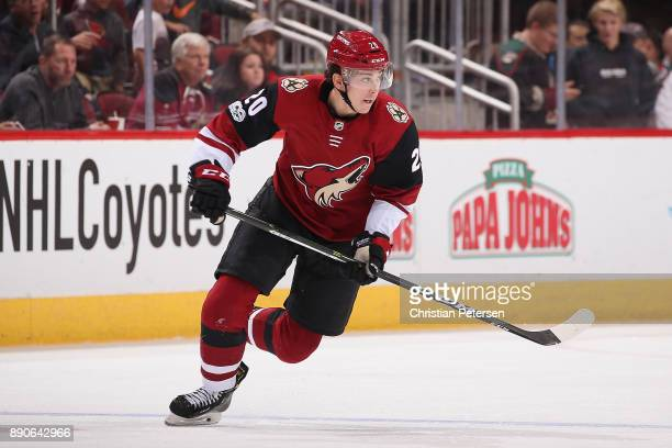 Dylan Strome of the Arizona Coyotes in action during the third period of the NHL game against the New Jersey Devils at Gila River Arena on December 2...