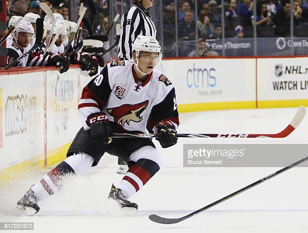 Dylan Strome of the Arizona Coyotes skates against the New York Islanders at the Barclays Center on October 21 2016 in the Brooklyn borough of New...