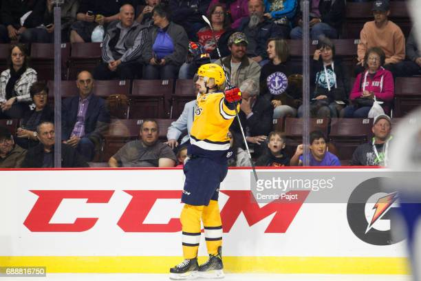 Dylan Strome of the Erie Otters celebrates his third period go ahead goal against the Saint John Sea Dogs on May 26 2017 during the semifinal game of...