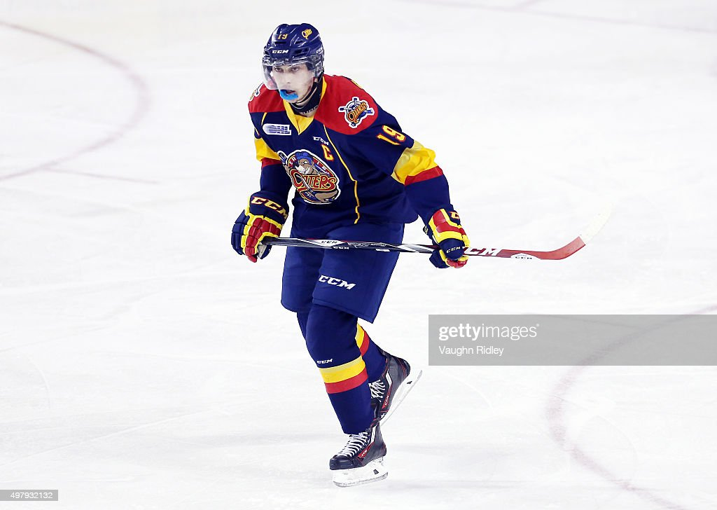 Dylan Strome #19 of the Erie Otters skates during an OHL game against the Niagara IceDogs at the Meridian Centre on November 19, 2015 in St Catharines, Ontario, Canada.