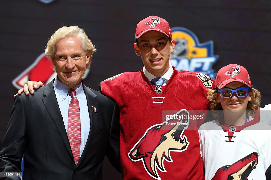 Dylan Strome poses after being selected third overall by the Arizona Coyotes in the first round of the 2015 NHL Draft at BB&T Center on June 26, 2015 in Sunrise, Florida.