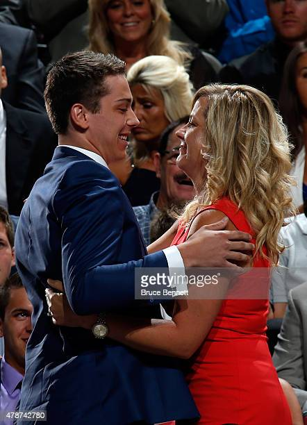Dylan Strome walks to the stage after being selected third overall by the Arizona Coyotes in the first round of the 2015 NHL Draft at BBT Center on...
