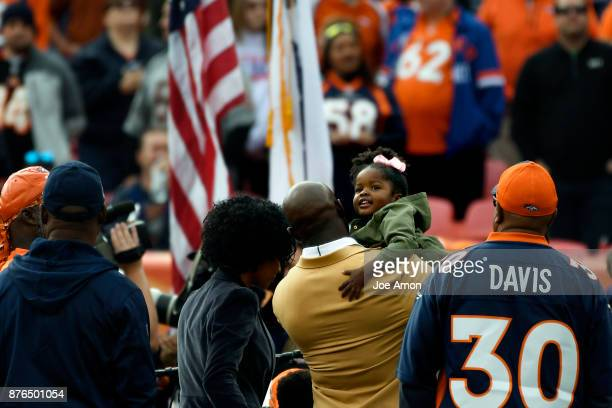 Dylan taking in the crowd as her father Terrell Davis has ring of fame updated after his induction into the Hall of Fame as the Denver Broncos hosted...