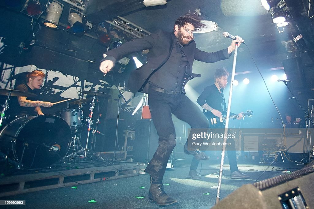 Dylan Taylor, Wes Borland and Nick Annis of Black Light Burns perform on stage at the Corporation on January 24, 2013 in Sheffield, England.
