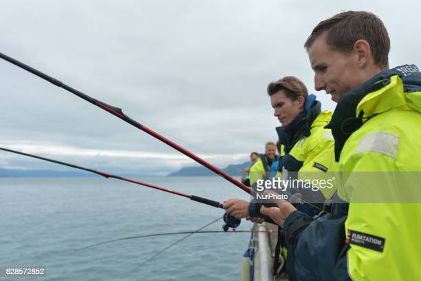 Dylan Teuns and Yoann Offredo during a Top Riders media fishing trip on the eve of the opening stage of the Arctic Race of Norway 2017 near Andorja...