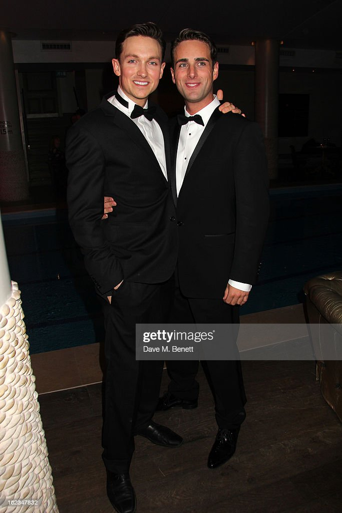 Dylan Turner and Bradley Clarkson attend 'The Tailor-Made Man' press night after party at the Haymarket Hotel on January 21, 2013 in London, England.