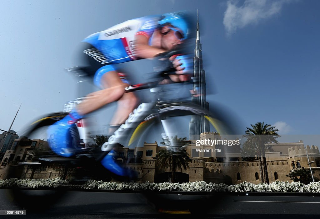 Dylan Van Baarle of of the Netherlands races past the Burj Khalifa during the time trial on stage one of the 2014 Tour of Dubai on February 5, 2014 in Dubai, United Arab Emirates.