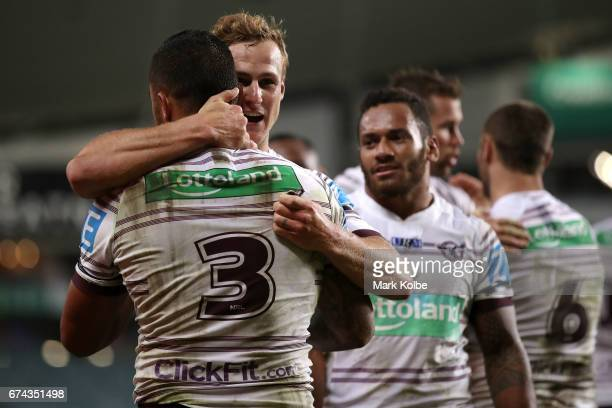 Dylan Walker and Daly CherryEvans of the Sea Eagles celebrates a try during the round nine NRL match between the South Sydney Rabbitohs and the Manly...