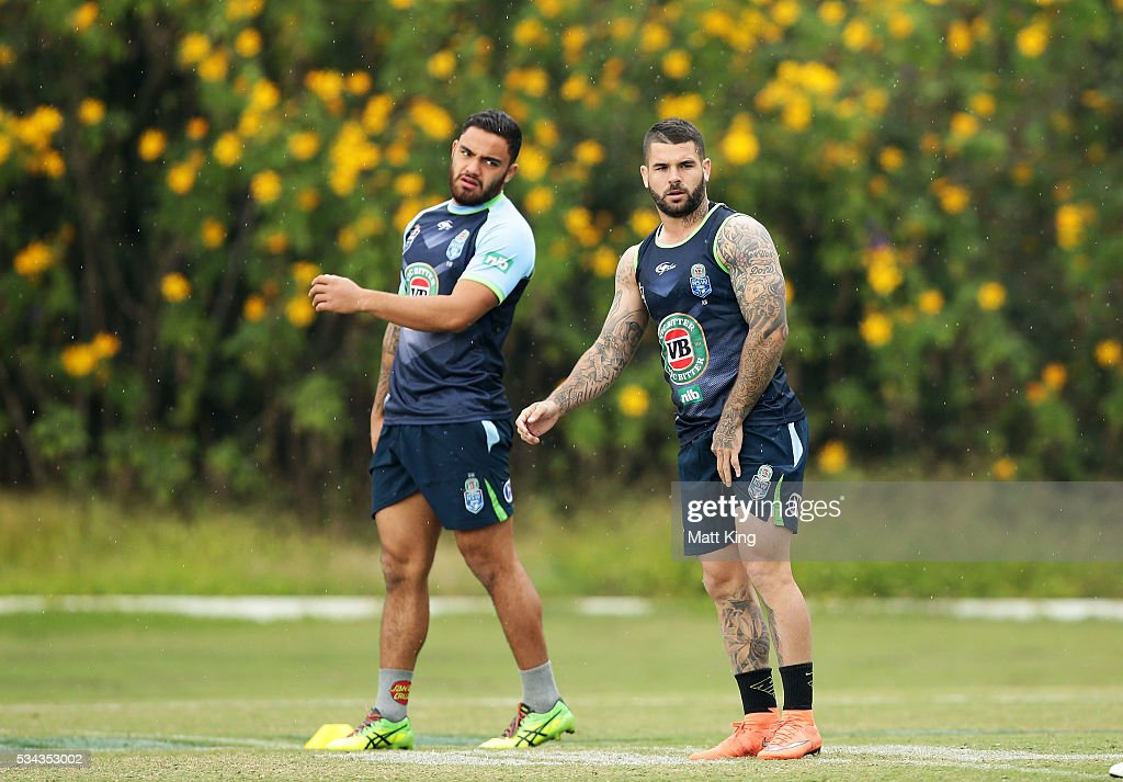 Dylan Walker of the Blues (L) and Adam Reynolds of the Blues (R) look on during a New South Wales State of Origin media opportunity on May 26, 2016 in Coffs Harbour, Australia.