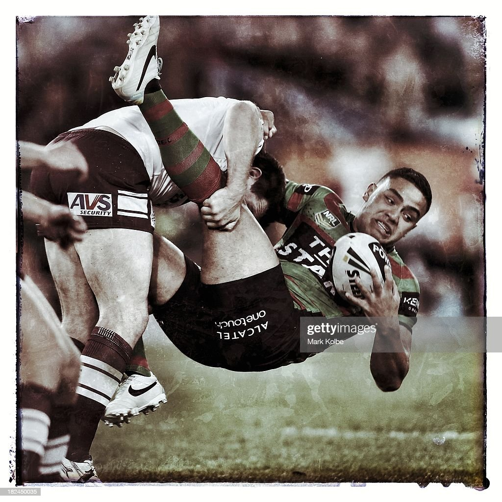Dylan Walker of the Rabbitohs during the NRL Preliminary Final match between the South Sydney Rabbitohs and the Manly Warringah Sea Eagles at ANZ Stadium on September 27, 2013 in Sydney, Australia.