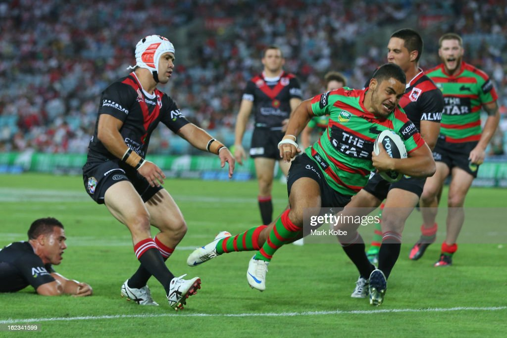 Dylan Walker of the Rabbitohs scores a try during the NRL Charity Shield match between the South Sydney Rabbitohs and the St George Illawarra Dragons at ANZ Stadium on February 22, 2013 in Sydney, Australia.