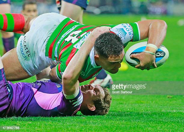 Dylan Walker of the Rabbitohs scores a try which was later disallowed during the round 10 NRL match between the Melbourne Storm and the South Sydney...