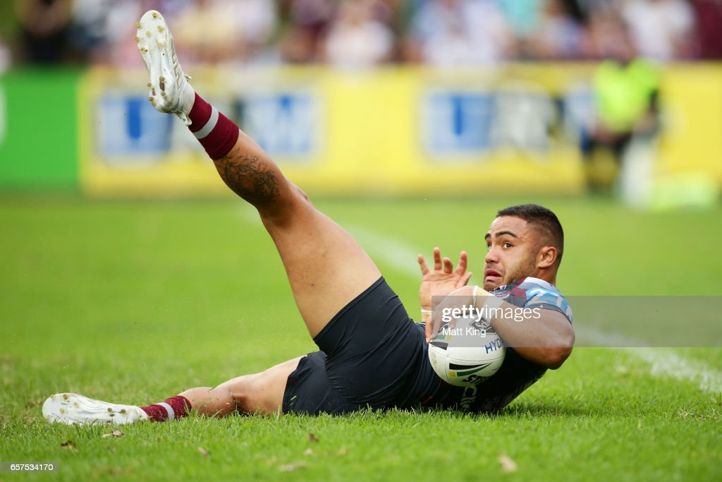 Dylan Walker of the Sea Eagles gets the ball down to score during the round four NRL match between the Manly Warringah Sea Eagles and the Canterbury Bulldogs at Lottoland on March 25, 2017 in Sydney, Australia.