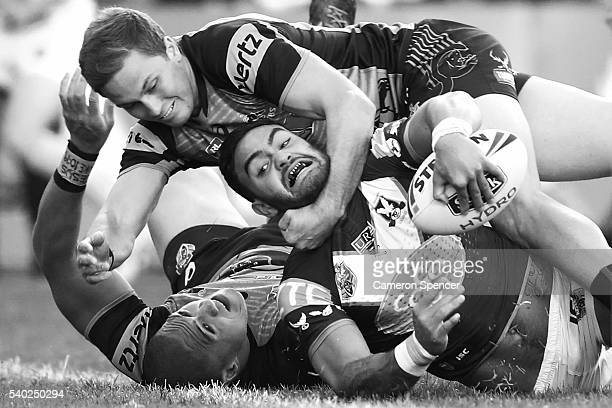 Dylan Walker of the Sea Eagles scores a try during the round 14 NRL match between the Manly Sea Eagles and the Penrith Panthers at Brookvale Oval on...