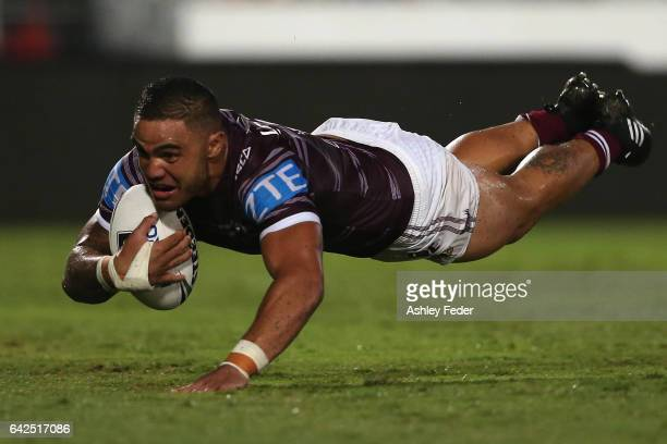 Dylan Walker of the Sea Eagles scores the game winning try during the NRL Trial match between the Manly Warringah Sea Eagles and Sydney Roosters at...