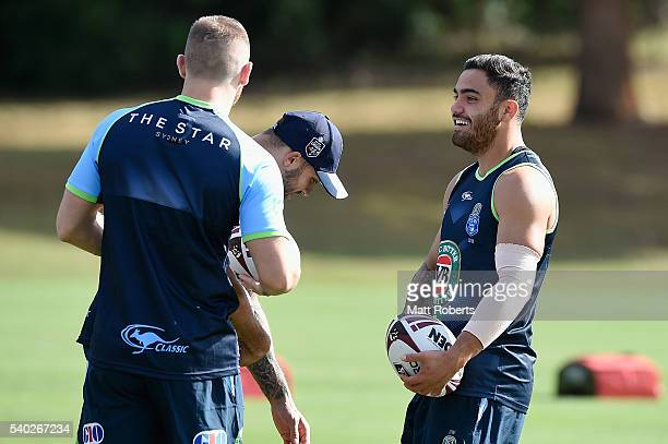 Dylan Walker shares a laugh during a New South Wales Blues State of Origin training session on June 15 2016 in Coffs Harbour Australia