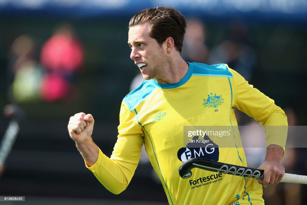 Dylan Wotherspoon of Australia celebrates scoring his sides first goal during the Group A match between Australia and Japan on day five of the FIH Hockey World League - Men's Semi Finals on July 17, 2017 in Johannesburg, South Africa.