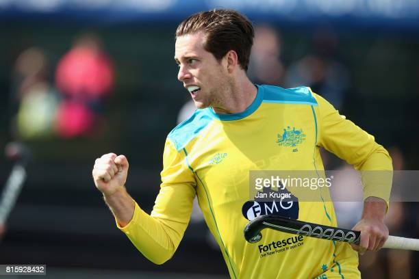 Dylan Wotherspoon of Australia celebrates scoring his sides first goal during the Group A match between Australia and Japan on day five of the FIH...