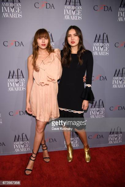 Dylana Suarez and Natalie Suarez arrives at the American Apparel Footwear Association's 39th Annual American Image Awards 2017 on April 24 2017 in...