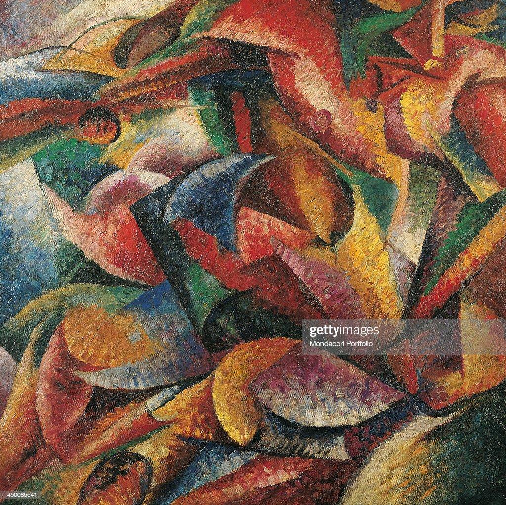 Dynamism of a human body by Boccioni Umberto 20th Century oil on canvas 100 x 100 cm