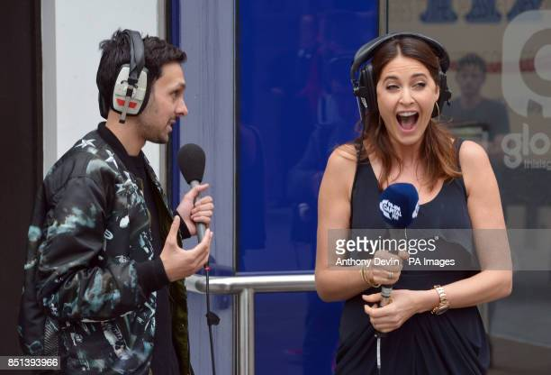 Dynamo and Lisa Snowdon during the Capital FM breakfast show as they embark on the biggest magic stunt in radio history a treasure hunt around London...