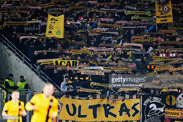 Dynamo Dresden supporters are seen during the Second Bundesliga match between 1 FC Koeln and Dynamo Dresden at RheinEnergieStadion on December 13...