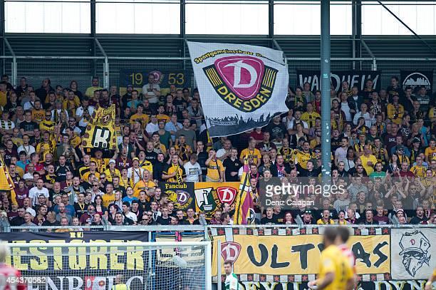 Dynamo Dresden supporters during the Third league match between Wehen Wiesbaden and Dynamo Dresden at BRITAArena on August 30 2014 in Wiesbaden...