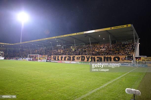 Dynamo Dresden supporters seen during the dritte LIga match between SG Sonnenhof Grossaspach vs Dynamo Dresden on December 4 2015 at Mechatronik...