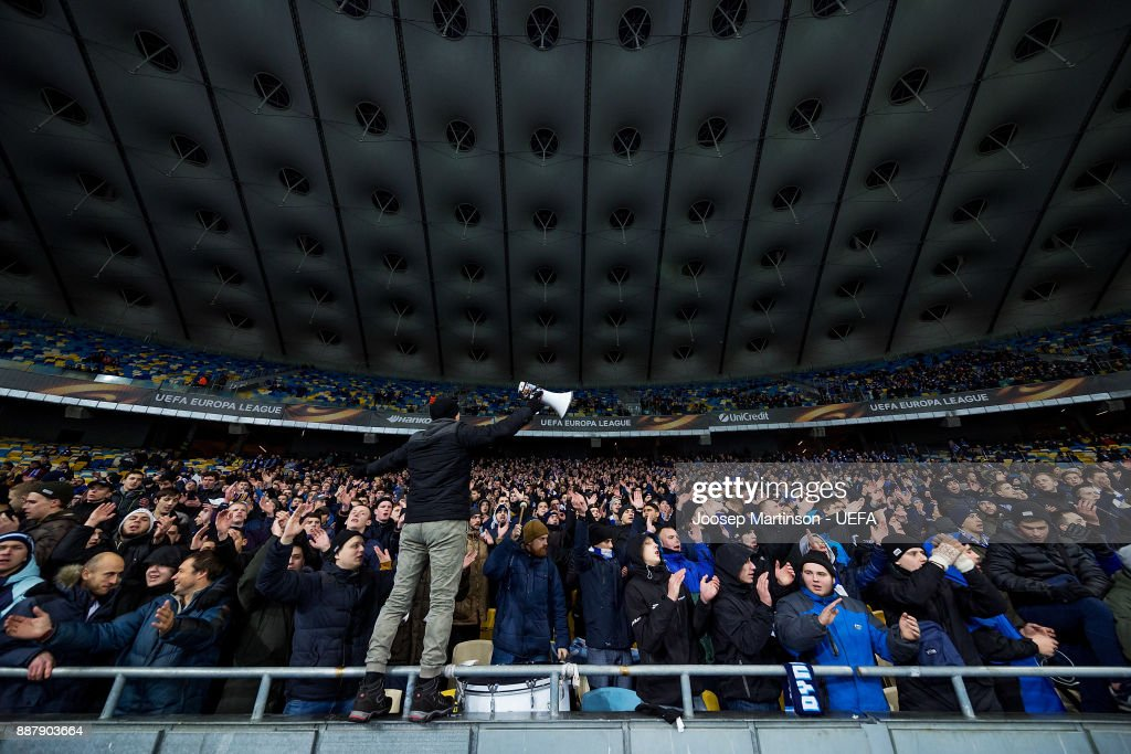 Dynamo fans chant during the UEFA Europa League group B match between FC Dynamo Kyiv and FK Partizan Belgrade at NSK Olimpiyskyi Stadium on December 7, 2017 in Kiev, Ukraine.