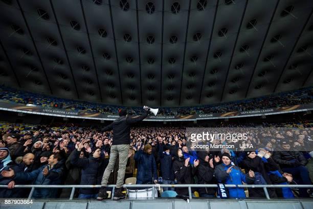 Dynamo fans chant during the UEFA Europa League group B match between FC Dynamo Kyiv and FK Partizan Belgrade at NSK Olimpiyskyi Stadium on December...
