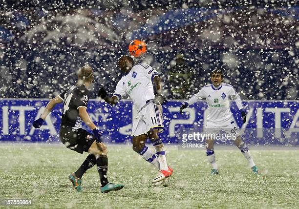FC Dynamo Kiev player Ideye Brown fights for the ball whit GNK Dinamo Zagreb's Domagoj Vida during the UEFA Champions League group A football match...
