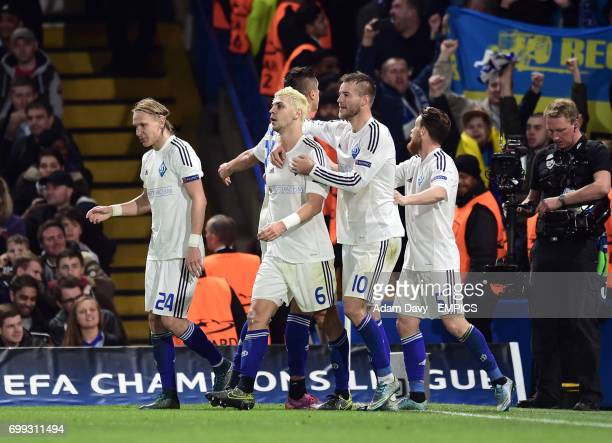Dynamo Kiev's Aleksandar Dragovic celebrates his goal with his team mates