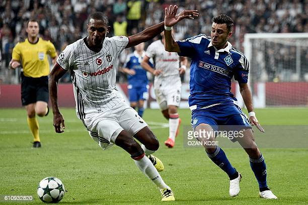 Dynamo Kiev's Junior Moraes challenges Besiktas' Marcelo during the UEFA Champions League football match between Besiktas and Dynamo Kiev at the...