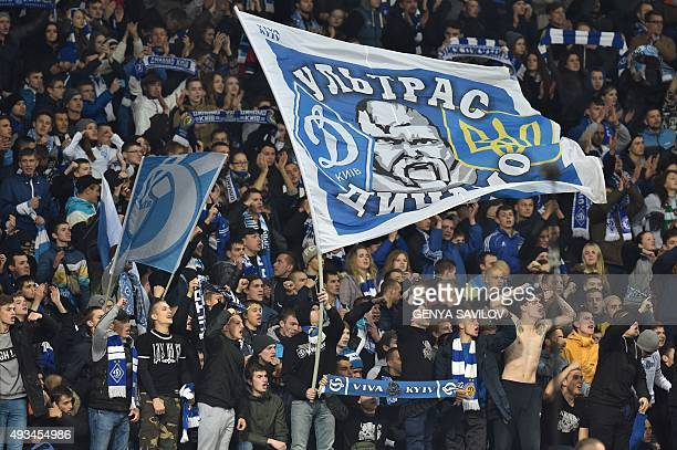 Dynamo Kiev's supporters cheer their team during the UEFA Champions League football match Dynamo Kiev vs Chelsea on October 20 2015 at the Olympic...