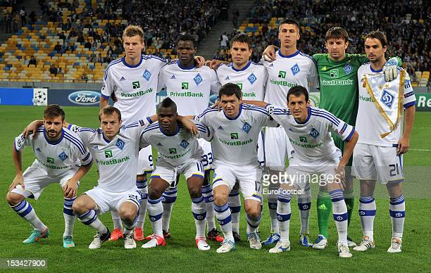 Dynamo Kyiv team group taken prior to the UEFA Champions League group stage match between FC Dynamo Kyiv and GNK Dinamo Zagreb at the Olimpiyskiy...