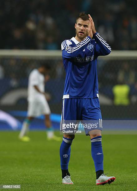 Dynamo KyivÕs forward Andriy Yarmolenko celebrates at the end of the UEFA Champions League match between FC Porto and FC Dynamo Kyiv at Estadio do...