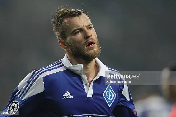 Dynamo Kyiv's forward Andriy Yarmolenko celebrates scoring Dynamo«s goal during the Champions League match between FC Porto and FC Dynamo Kyiv at...