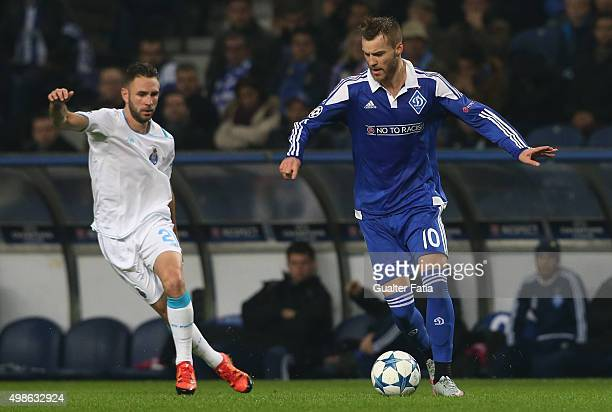 Dynamo KyivÕs forward Andriy Yarmolenko with FC PortoÕs defender Miguel Layun in action during the UEFA Champions League match between FC Porto and...