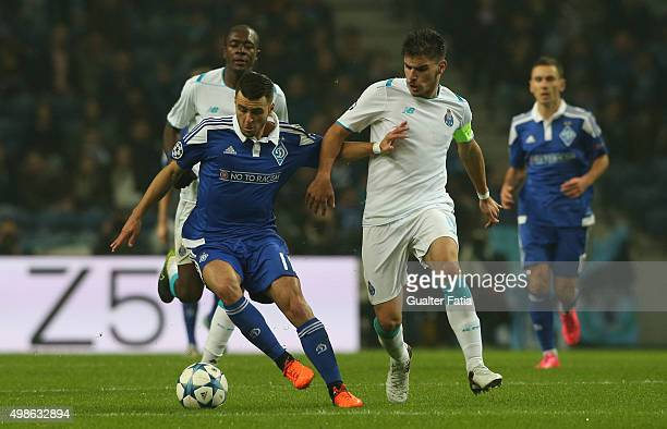 Dynamo KyivÕs forward Junior Moraes with FC PortoÕs midfielder Ruben Neves in action during the UEFA Champions League match between FC Porto and FC...