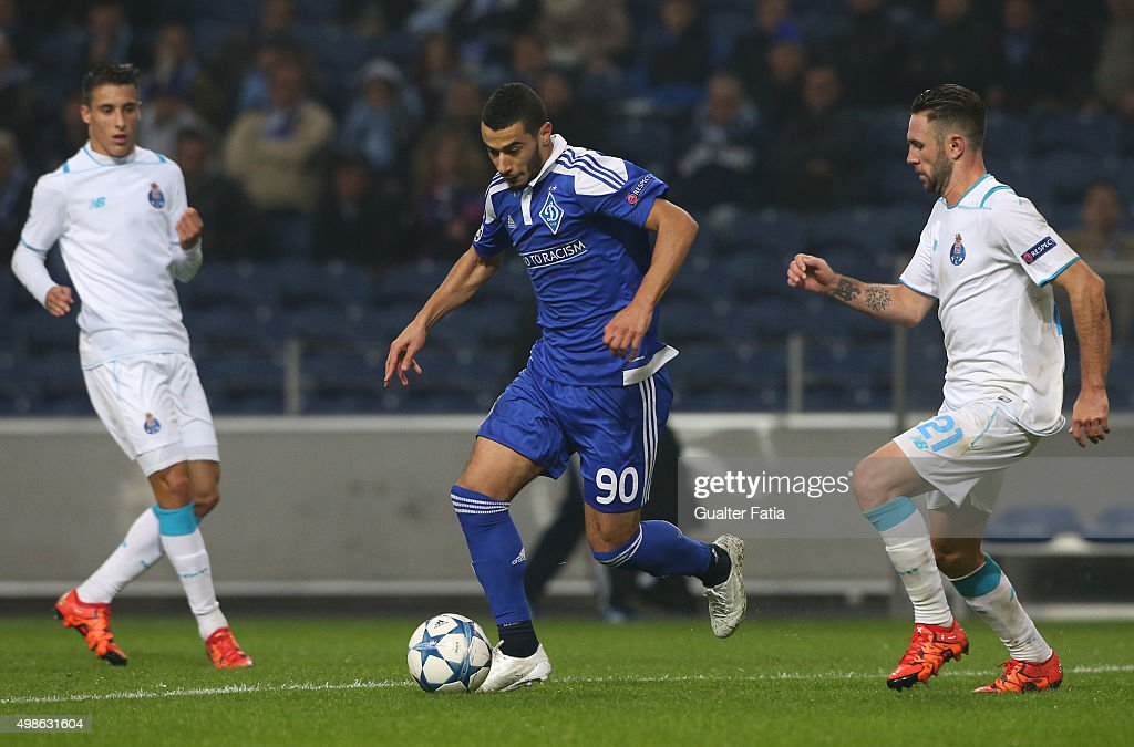 FC Dynamo KyivÕs midfielder Younes Belhanda with FC PortoÕs defender Miguel Layun in action during the UEFA Champions League match between FC Porto and FC Dynamo Kyiv at Estadio do Dragao on November 24, 2015 in Porto, Portugal.