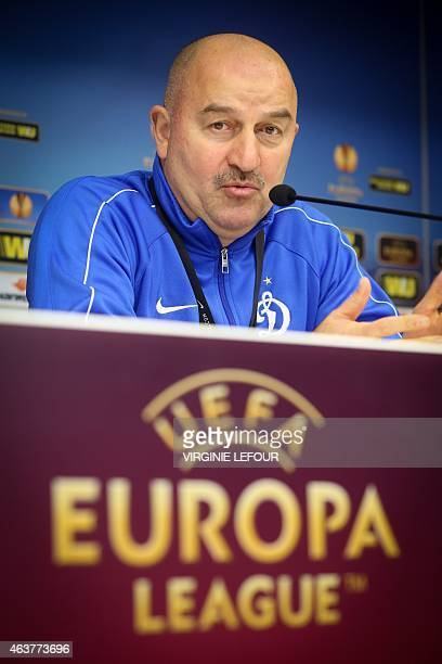 Dynamo Moscow head coach Stanislav Cherchesov gives a press conference on February 18 2015 in Brussels on the eve of the Europa League football match...