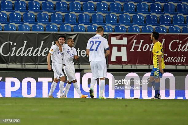 Dynamo Moscow's midfielder Yuriy Zhirkov and Dynamo Moscow's midfielder William Vainqueur celebrates Dinamo second goal during the Europa League...