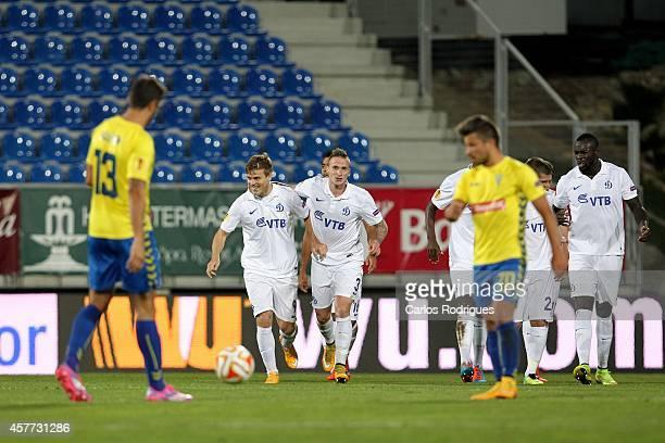 Dynamo Moscow's players celebrating frist goal score by Dynamo Moscow's forward Aleksandr Kokorin during the Europa League match between Estoril...