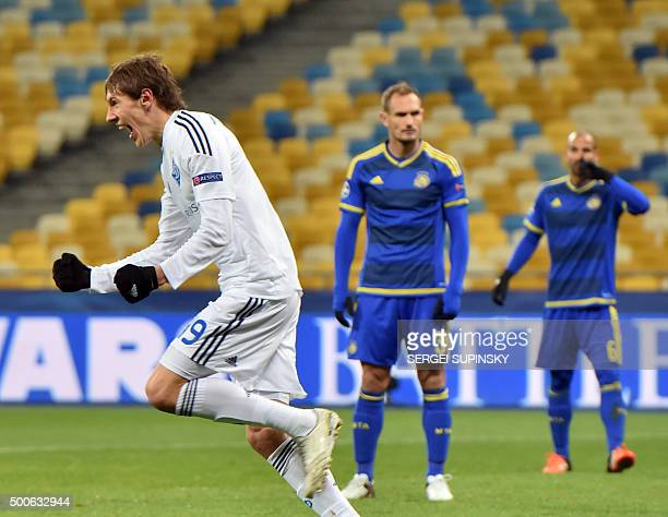 Dynamo's midfielder Denys Harmash celebrates after opening the scoring during the UEFA Champions League Group G football match between FC Dynamo Kiev...