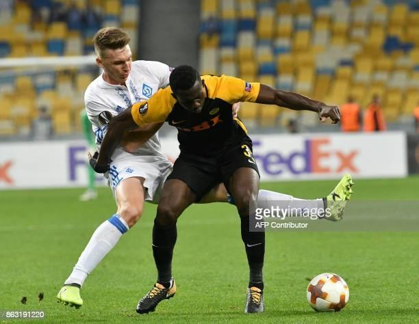 Dynamo's midfielder Serhiy Sydorchuk vies with Young Boys midfielder Sekou Sanogo during the UEFA Europa League Group B football match between Dynamo...